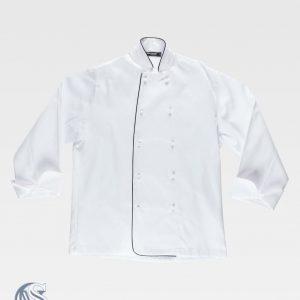 Casaca Workteam unisex blanca con botones blancos
