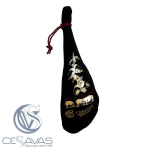 Black ham case with golden print (pure iberico) and with black and red cord