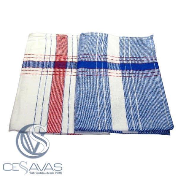 paño cocina blanco y azul 55x55