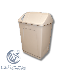 White bin with tilting lid