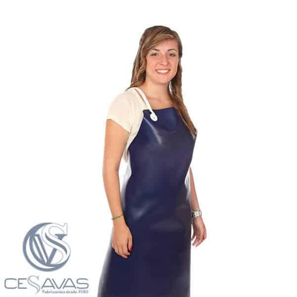 delantal pvc azul